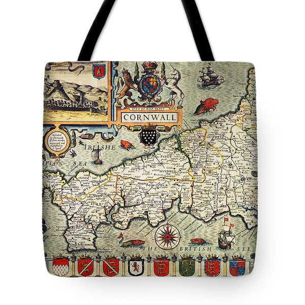 Map Of Cornwall Tote Bag by John Speed
