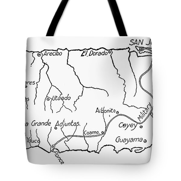 Map Of Puerto Rico, 1899 Tote Bag by Granger