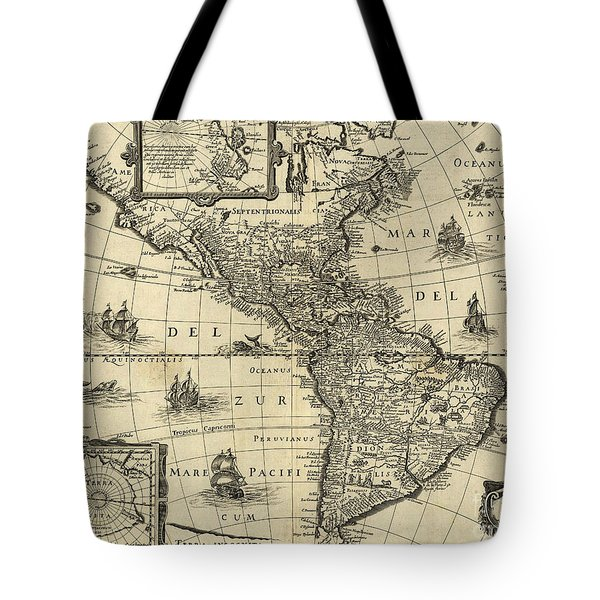 Map Of The Americas 1640 Tote Bag by Photo Researchers