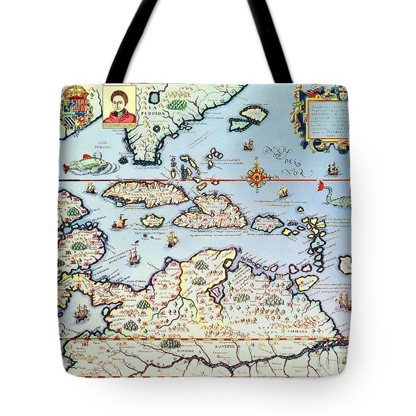 Map Of The Caribbean Islands And The American State Of Florida Tote Bag by Theodore de Bry