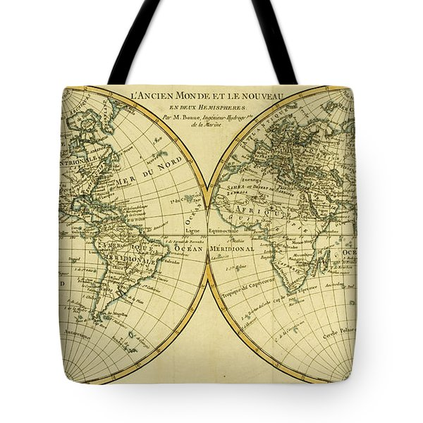 Map Of The World In Two Hemispheres Tote Bag by Guillaume Raynal