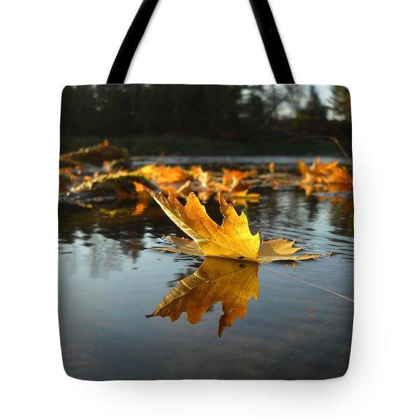 Maple Leaf Floating In River Tote Bag