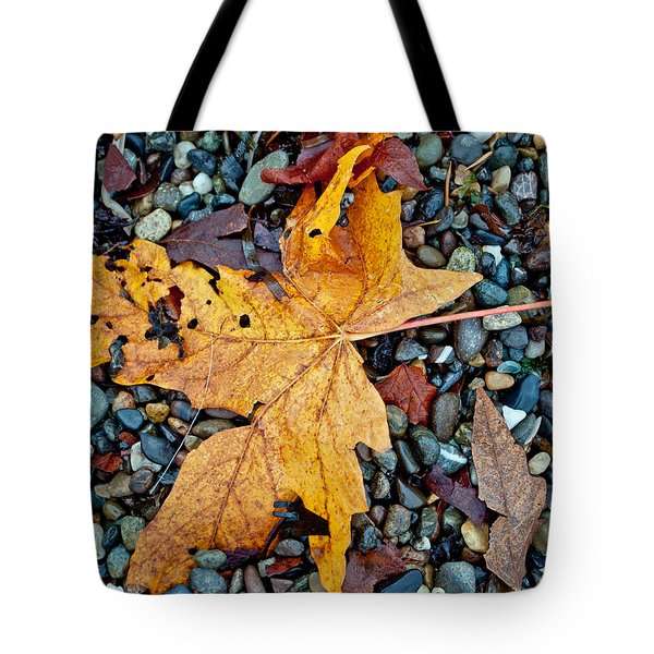 Tote Bag featuring the photograph Maple Leaf On The Rocks by Tikvah's Hope