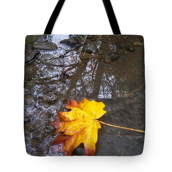 Maple Leaf Reflection 1 Tote Bag by Peter Mooyman