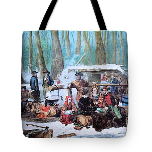 Maple Sugaring, 1872 Tote Bag by Photo Researchers