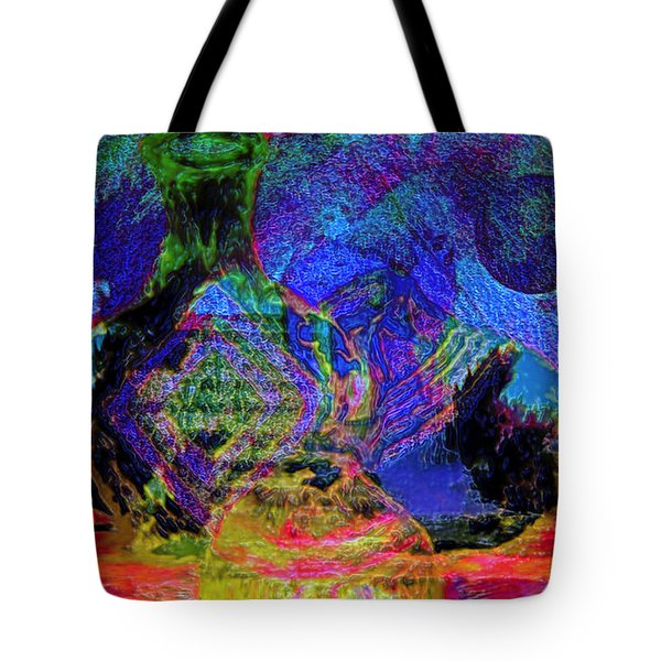 Tote Bag featuring the painting Mapped In Time  Pottery Collection by Sherri  Of Palm Springs