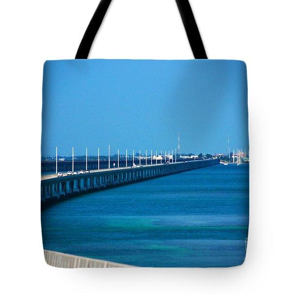 Marathon And The 7mile Bridge In The Florida Keys Tote Bag by Susanne Van Hulst