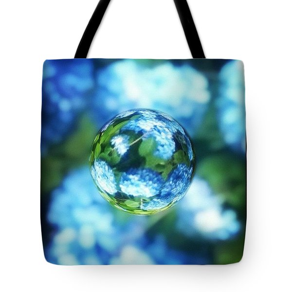 Marbled Blue Hydrangea Tote Bag