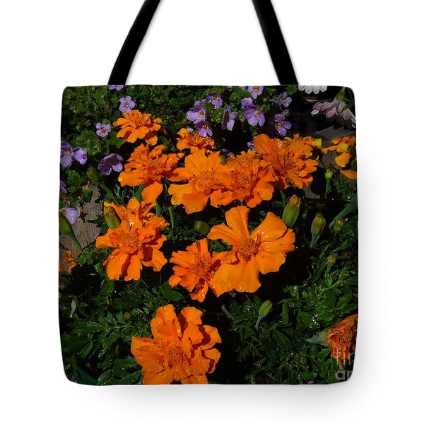 Tote Bag featuring the photograph Marigolds by Jim Sauchyn