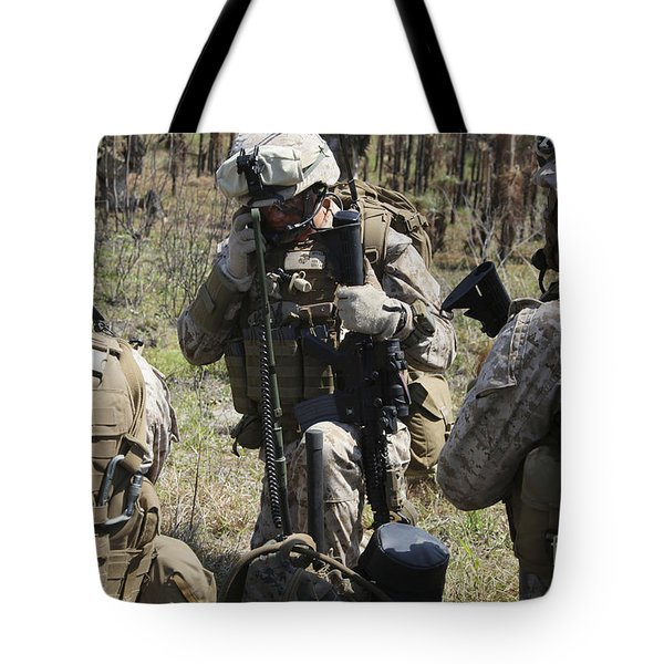 Marines Communicate With Other Elements Tote Bag by Stocktrek Images