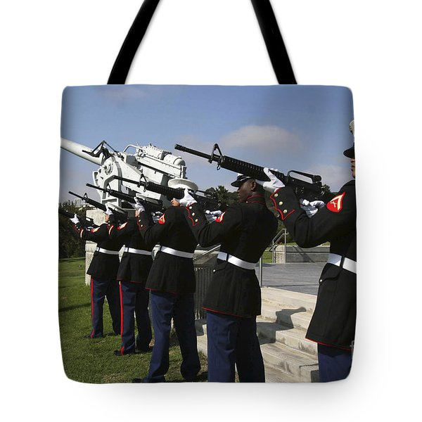 Marines Practices Drill Movements Tote Bag by Stocktrek Images