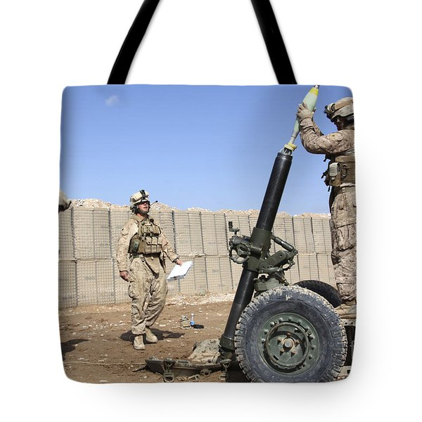 Marines Prepare To Fire A 120mm Mortar Tote Bag by Stocktrek Images