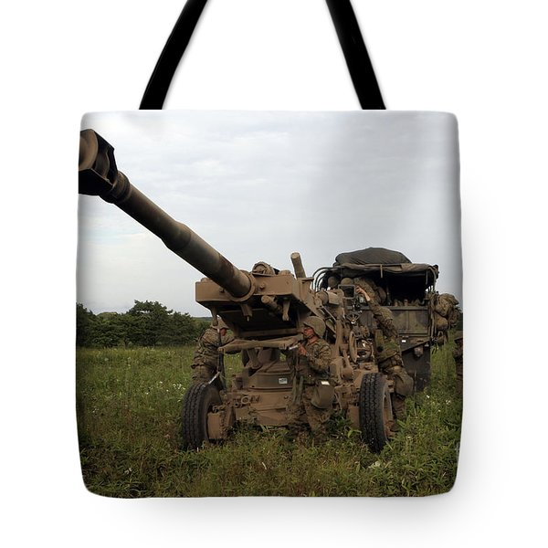 Marines Set Up A M198 155mm Howitzer Tote Bag by Stocktrek Images