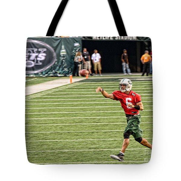 Mark Sanchez Ny Jets Quarterback Tote Bag by Paul Ward