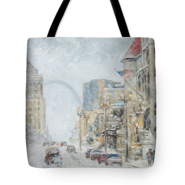 Market Street In Winter In St.louis Tote Bag