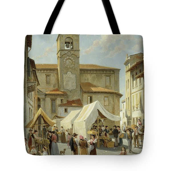 Marketday In Desanzano  Tote Bag by Jacques Carabain