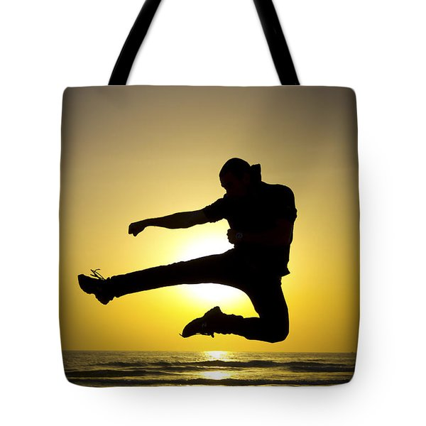 Martial Arts Silhouette Tote Bag by Guy Viner