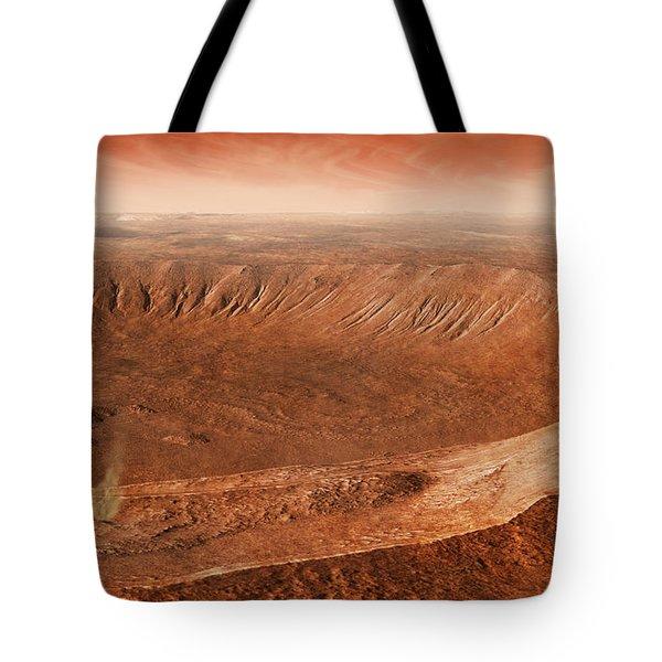 Martian Gullies In Noachis Terra, Mars Tote Bag by Steven Hobbs