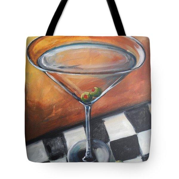 Martini On Checkered Tablecloth Tote Bag