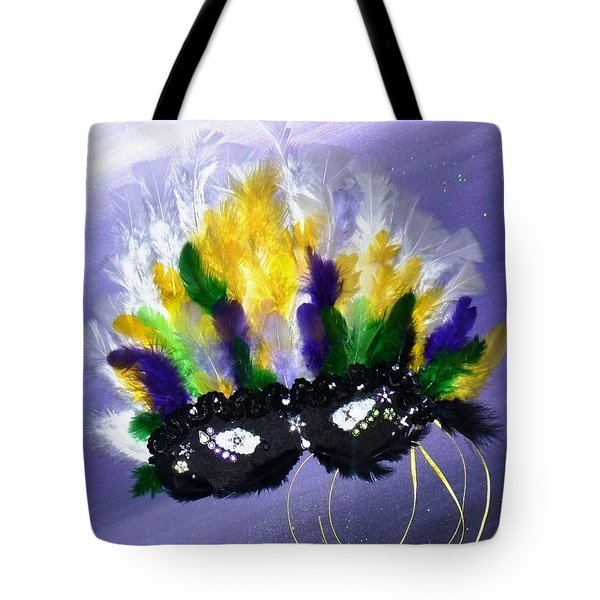 Tote Bag featuring the painting Masque Over Bourbon Street by Alys Caviness-Gober