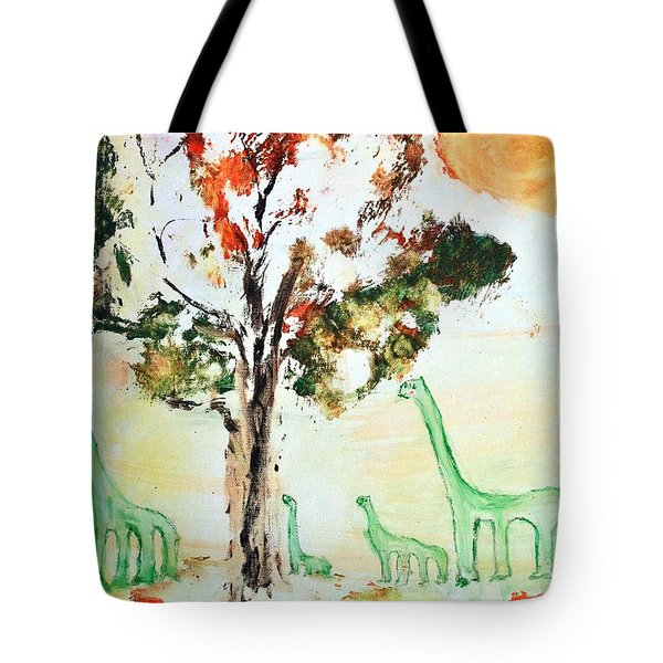 Tote Bag featuring the painting Matei's Dinosaurs by Evelina Popilian