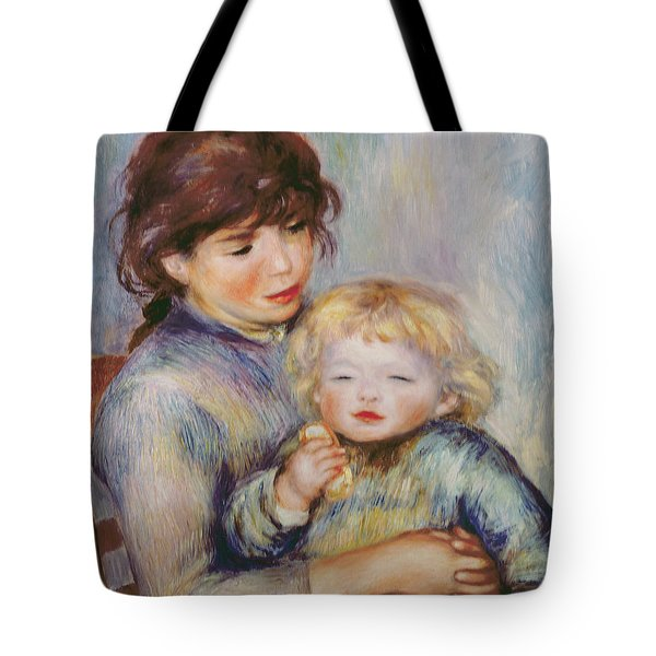 Maternity Or Child With A Biscuit Tote Bag by Pierre Auguste Renoir