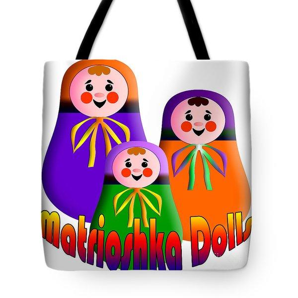 Matrioshka Dolls Tote Bag by Zaira Dzhaubaeva