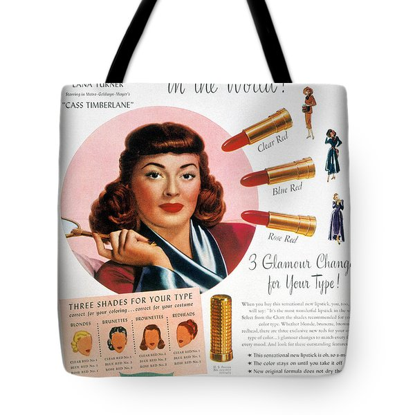 Max Factor Lipstick Ad Tote Bag by Granger