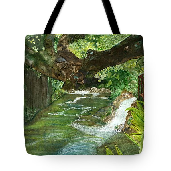Tote Bag featuring the painting Maya Ubud Tree Bali Indonesia by Melly Terpening