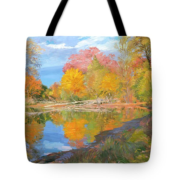Mayslake At Fall Tote Bag by Judith Barath