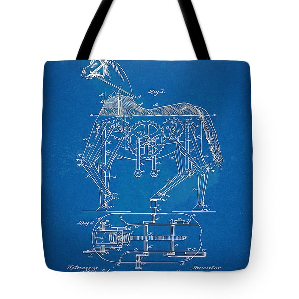 Mechanical Horse Toy Patent Artwork 1893 Tote Bag by Nikki Marie Smith