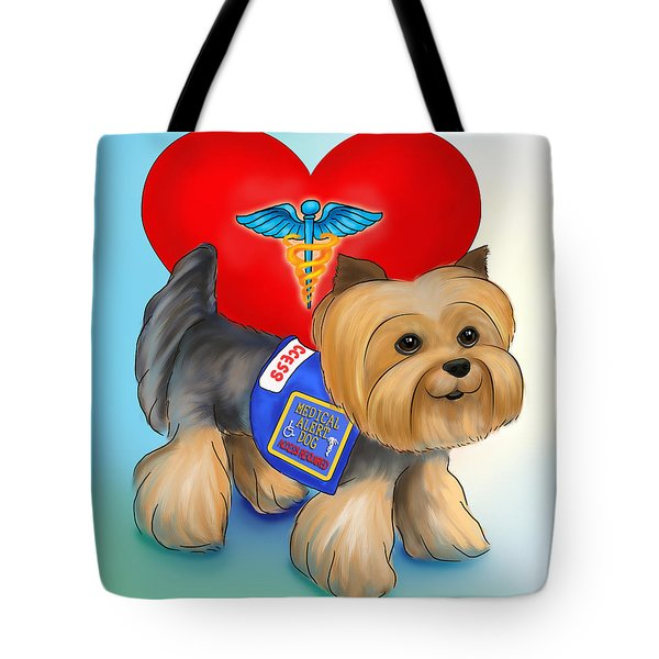 Medical Alert Yorkie Tote Bag by Catia Cho