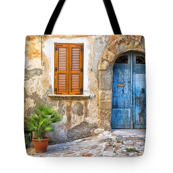 Mediterranean Door Window And Vase Tote Bag by Silvia Ganora