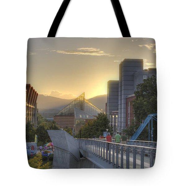 Meeting Bridges Tote Bag by David Troxel