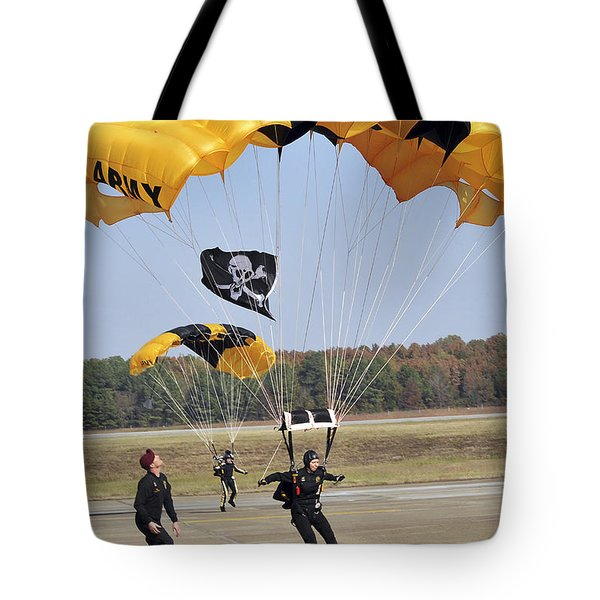 Members Of The Golden Knights Parachute Tote Bag by Stocktrek Images