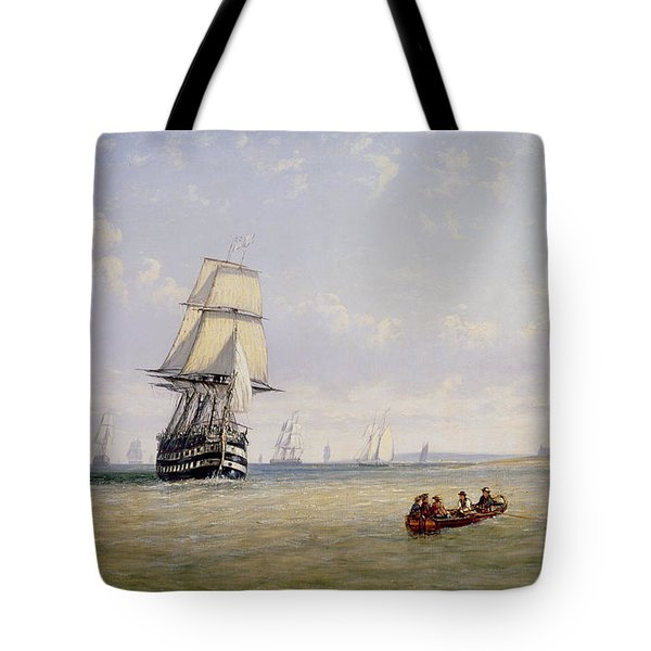 Meno War Schooners And Royal Navy Yachts Tote Bag by Claude T Stanfield Moore