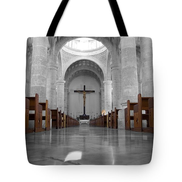Tote Bag featuring the photograph Merida Mexico Cathedral Interior Color Splash Black And White by Shawn O'Brien