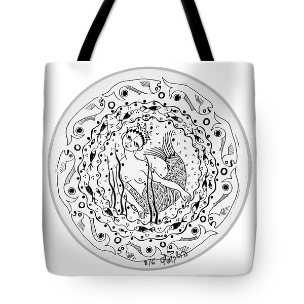 Mermaid In Black And White Round Circle With Water Fish Tail Face Hands  Tote Bag by Rachel Hershkovitz