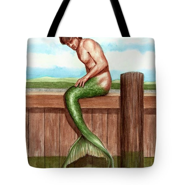 Merman On The Dock Tote Bag by Bruce Lennon