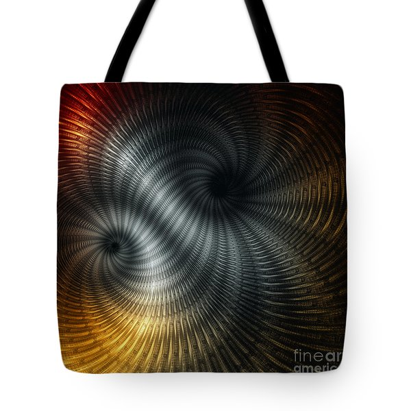 Tote Bag featuring the digital art Metallic Spin by Elaine Manley