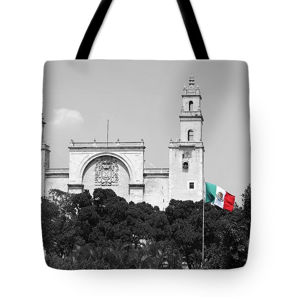 Tote Bag featuring the photograph Mexico Flag On Merida Cathedral San Ildefonso Town Square Color Splash Black And White by Shawn O'Brien