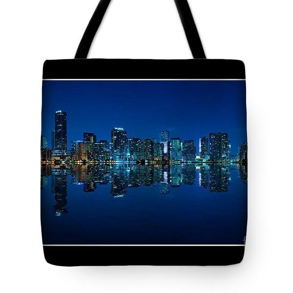Miami Skyline Night Panorama Tote Bag by Carsten Reisinger
