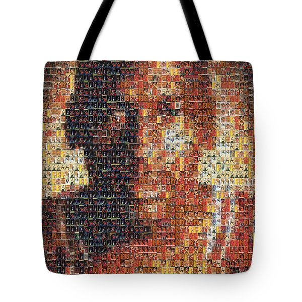 Michael Jordan Card Mosaic 1 Tote Bag by Paul Van Scott