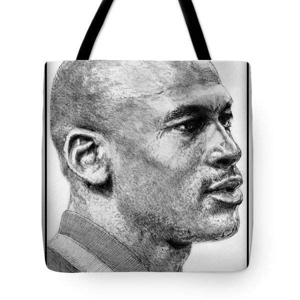 Tote Bag featuring the drawing Michael Jordan In 1990 by J McCombie