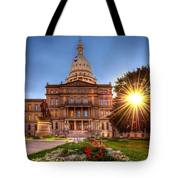 Tote Bag featuring the photograph Michigan Capitol - Hdr - 2 by Larry Carr