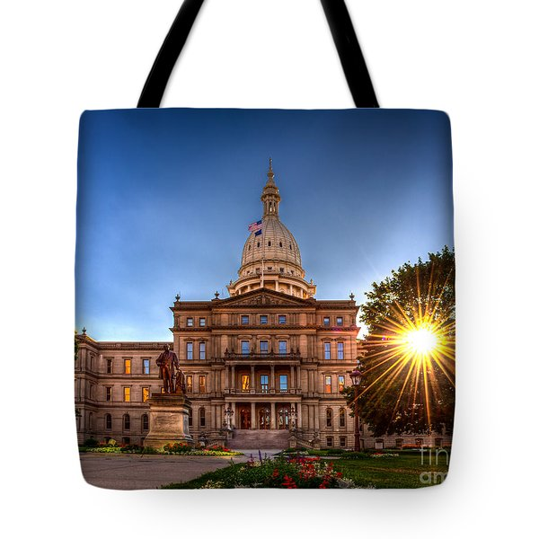 Tote Bag featuring the photograph Michigan Capitol - Hdr-1 by Larry Carr