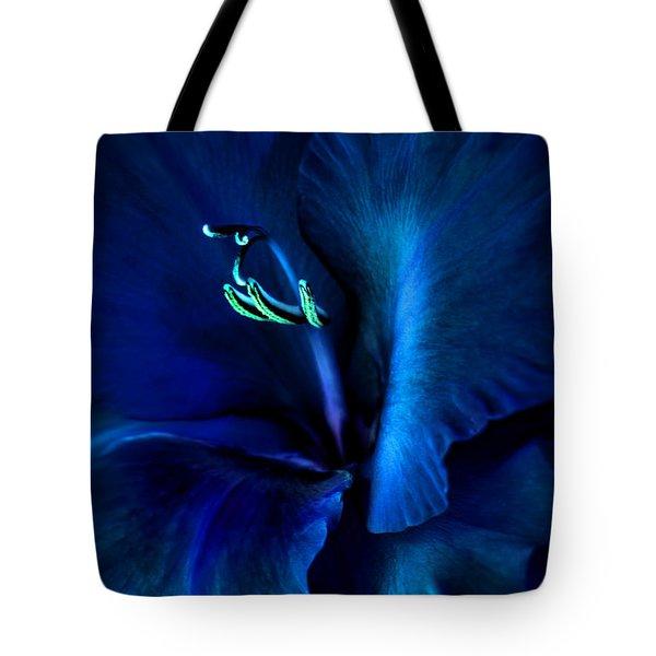 Midnight Blue Gladiola Flower Tote Bag by Jennie Marie Schell