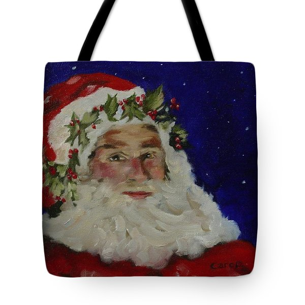 Tote Bag featuring the painting Midnight Santa by Carol Berning