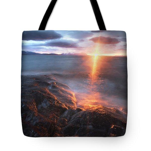Midnight Sun Over Vågsfjorden Tote Bag by Arild Heitmann