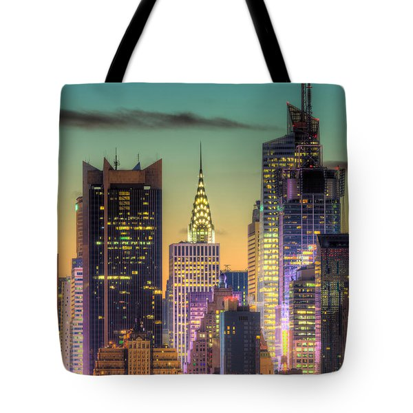Midtown Buildings Morning Twilight Tote Bag by Clarence Holmes